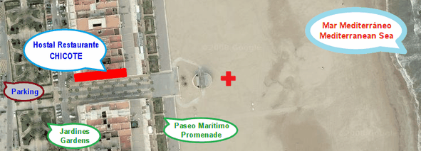 Hostal Restaurante Chicote está situado en primera línea de la Playa Las Arenas de Valencia