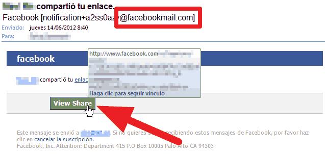Correo verdadero enviado por FaceBook: información expuesta en redes sociales